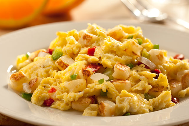 Scrambled Eggs with Minced Vegetables and Breakfast Potatoes