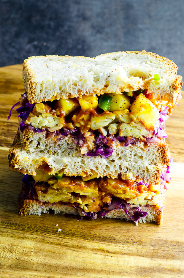 BBQ Tempeh Sandwich with Pineapple Salsa