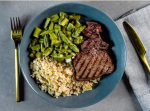Flat Iron Steak, Brown Rice, Mixed Vegetables Meal | Eat