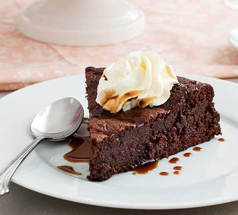 Gluten Free Flourless Chocolate Date Cake with Caramel Sauce