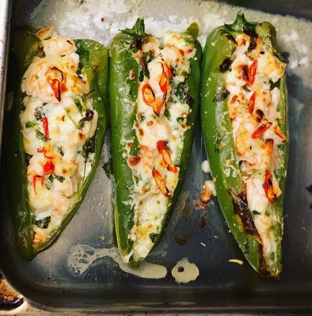 Grilled Peppers with Moroccan Sardines and Mozzarella