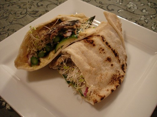 Roasted Vegetable and Smoked Fish Pitas