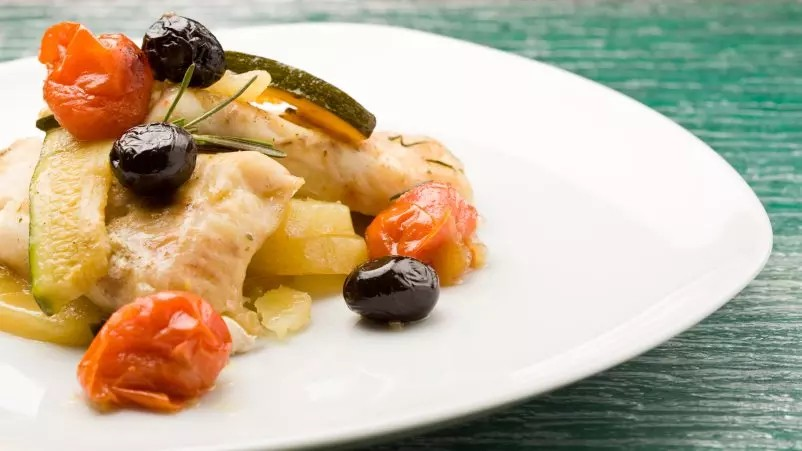 Crispy Cod with Herby Vegetables