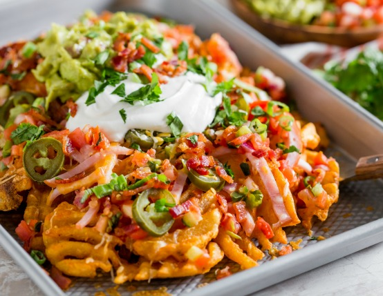 Loaded Nachos with Bacon & Canadian Bacon